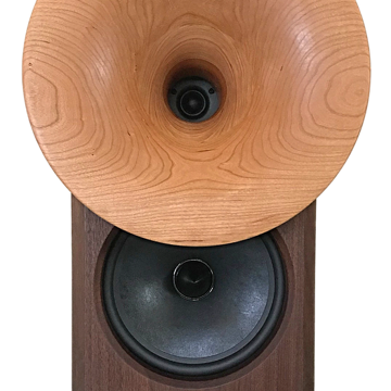 Solid walnut baffle and cabinet with solid American cherry horns