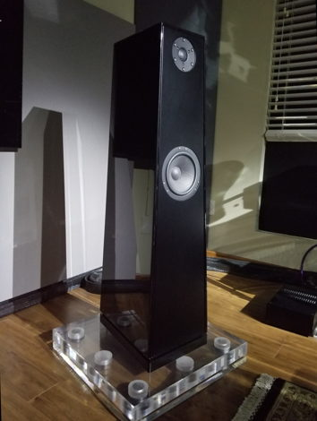 Acrylic bases under the speaker, sold separately.