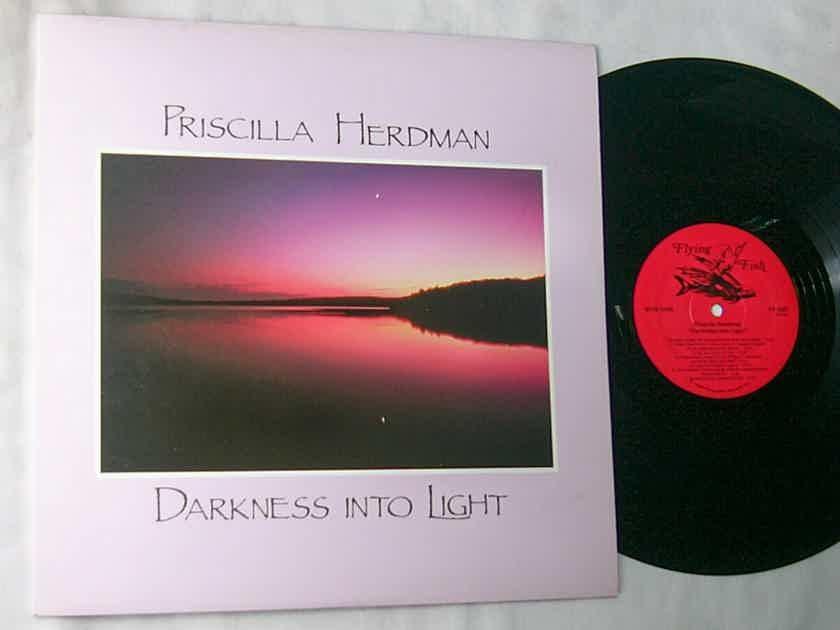 PRISCILLA HERDMAN -  - DARKNESS INTO LIGHT - RARE 1987 AUTOGRAPHED FOLK LP - FLYING FISH
