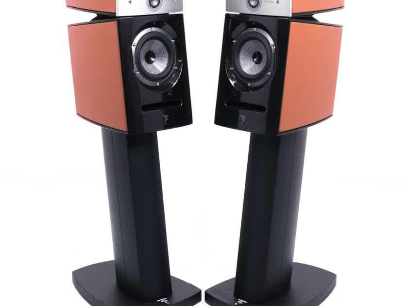 Focal Diablo Utopia III Bookshelf Speakers; Custom Orange Leather Pair w/ Stands (21955)