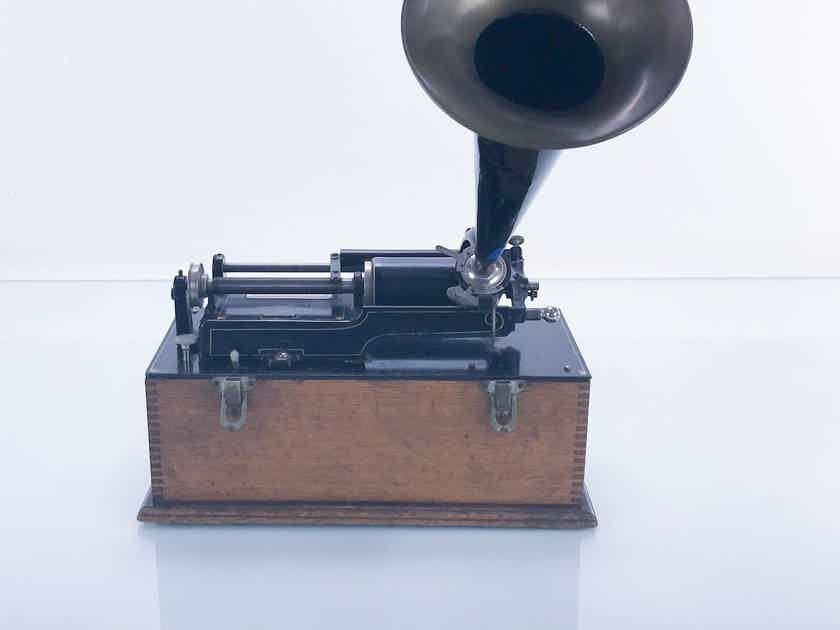 Edison Home Phonograph Antique Wax Cylinder Player; Outside Horn; 1896 (16918)