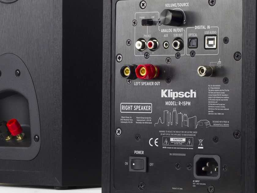 Klipsch Klipsch R-15PM Powered Speakers with Bluetooth  & Turntable Input NEW w Free Shipping