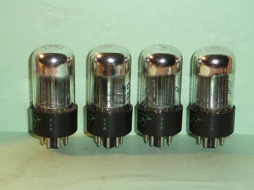 Sylvania 6SN7GTA ECC33 6SN7 Chrome Dome Tubes, Matched Quad, Test NOS, Matched Codes