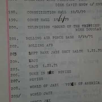 +450 JAZZ REEL TO REELS * DETAIL CATALOG * MOSTLY ELLINGTON LIBRARY of Ellington Society President