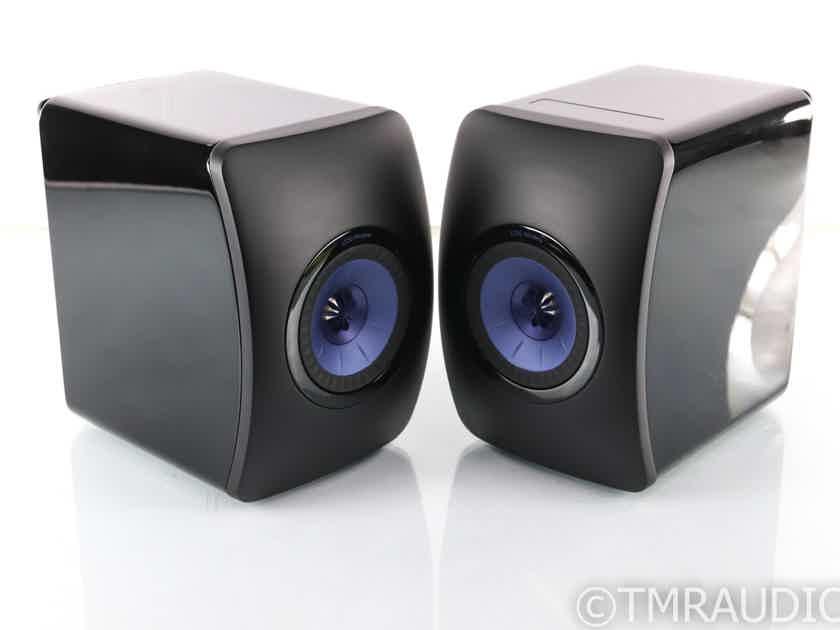 KEF LS50W Wireless Powered Bookshelf Speakers; Black/Blue; Remote (28102)