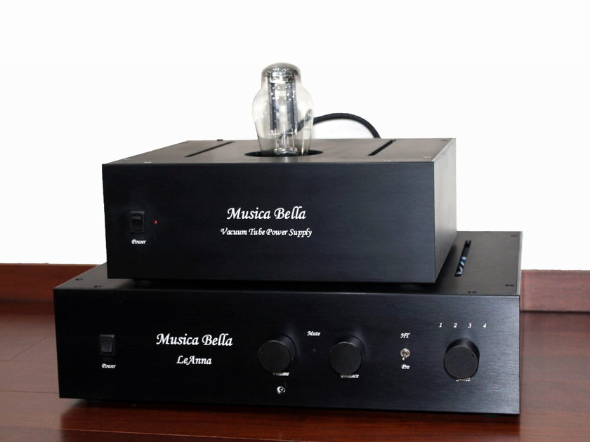 Musica Bella Class A Tube Pre-Amplifier Remote VTPS Tube Power Supply Vcap, Bybee, Remote Control Balanced HT Bypass 220-240v