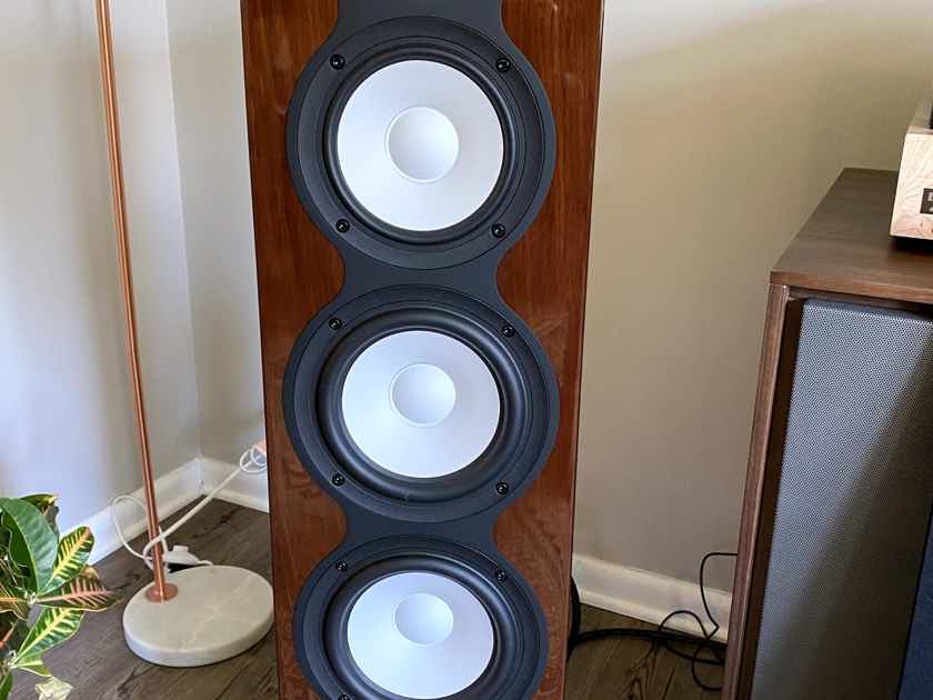 Revel Performa F226Be Gloss Walnut, 6 months old, perfect condition. Herbies threaded gliders included!