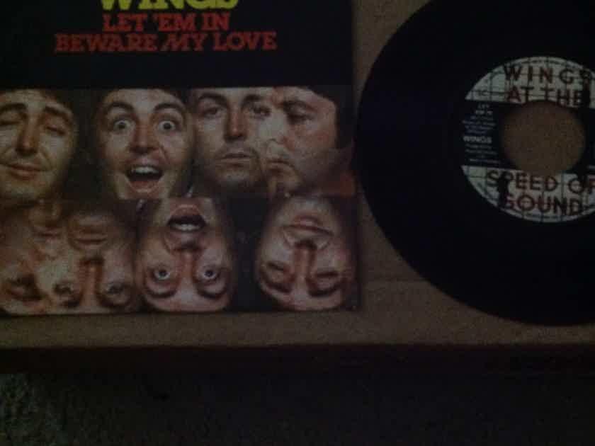 Wings - Let Em' In/Beware My Love EMI Electola Germany 45 Single With Picture  Sleeve Vinyl NM