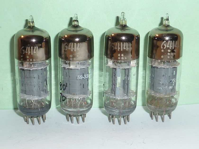 GE 6414 12AT7 E180CC Triple Mica Tubes, Matched Quad, NOS Testing