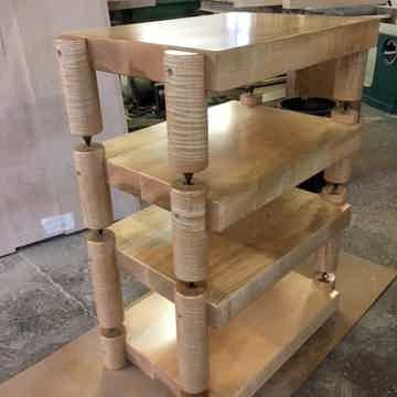 Timbernation:  Tiger Maple Stack  Rack with 4 Round Posts
