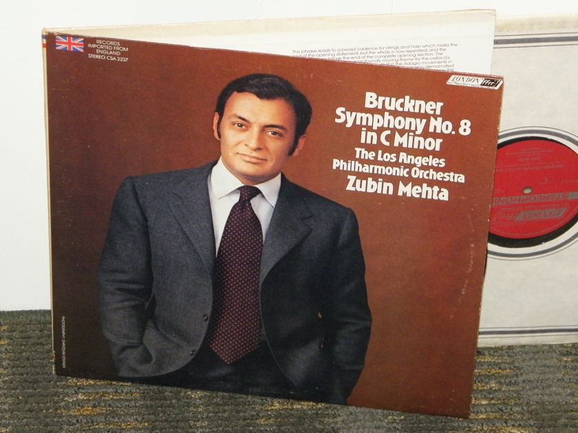 Zubin Mehta/Los Angeles Philharmonic - Bruckner Symphony No. 8 in C minor London CSA 2237 2 LP set UK/Decca pressings