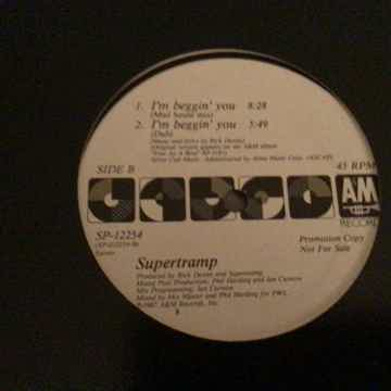 Supertramp Promo 12 Inch 45 RPM I'm Beggin' You