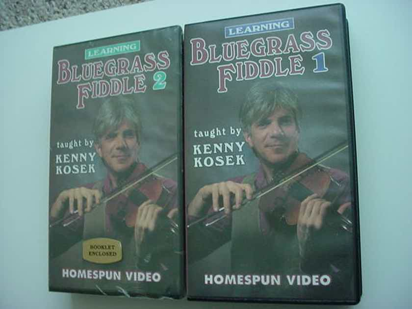 Learning Blue Grass Fiddle 1 & 2 vhs tapes - Kenny Kosek 1 is unused 1993 has paperwork