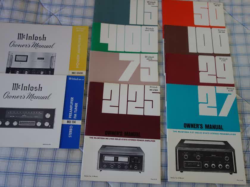 McIntosh  Owner's Manuals, NOS  Ex Cond  10 total