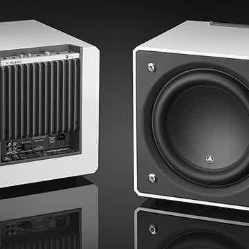 10/10 Scansonic MB-5B Ribbon Loudspeakers  in white with two JL Audio E-110 in white.
