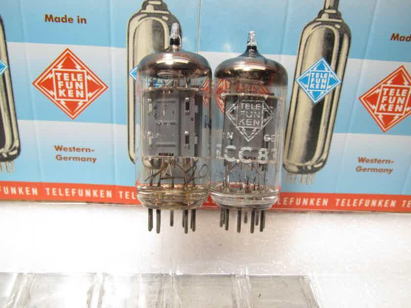 Telefunken 12AX7 ECC83  Platinum Matched Pair ribbed plates