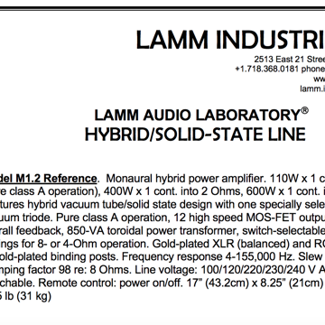 Lamm Industries M-1.2 Reference