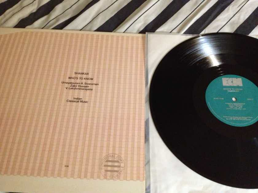 Shankar - Who's To Know Indian Classical Music ECM Label LP NM Quiex II Colored Vinyl