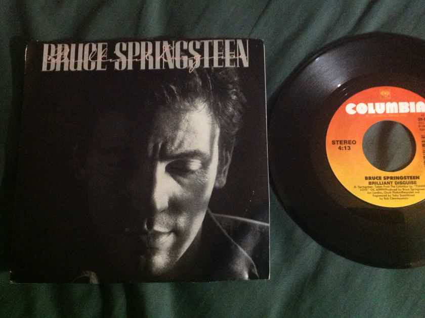 Bruce Springsteen - Brilliant Disguise/Lucky Man Columbia Records 45 Single With Picture Sleeve Vinyl NM