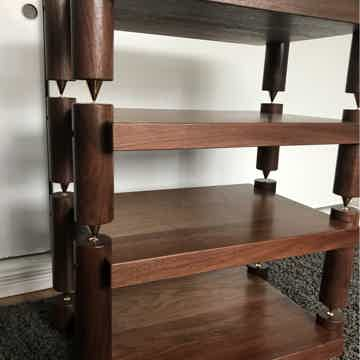 Timbernation- 4 Shelf Walnut Stack Rack with 4 Round
