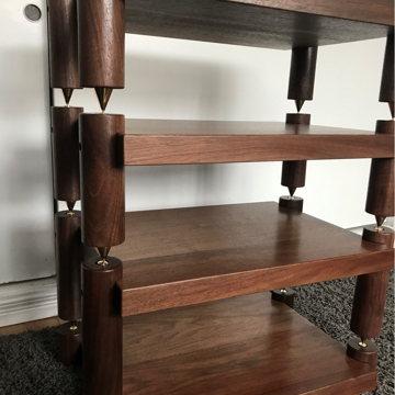 Timbernation- 4 Shelf Walnut Stack Rack with 4 Round