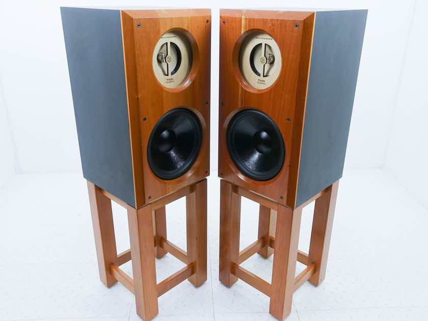 Viking Acoustics Briton Hybrid Studio Monitors Cherry Pair; Stands; DC10Audio (15254)