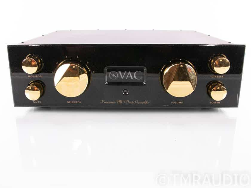 V.A.C. Renaissance Mk 3 Stereo Tube Preamplifier; MK III; MM/MC Phono; Remote (18960)