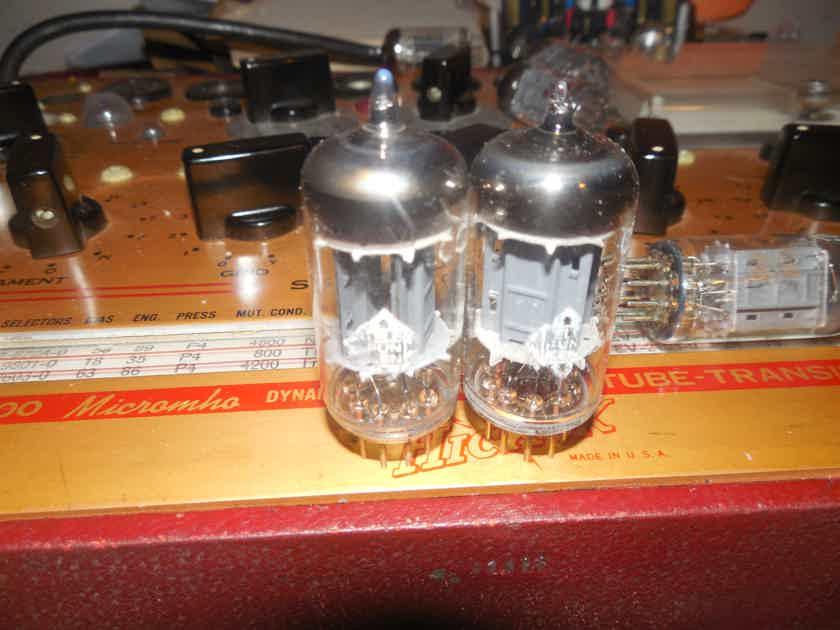 2 very nice telefunken diamond bottom rib plate 12ax7 tubes