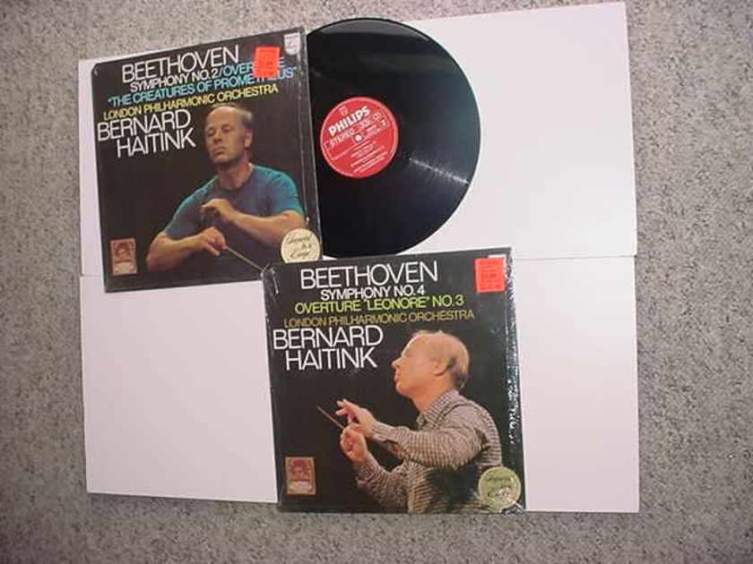 Bernard Haitink 2 lp records Philips classical Beethoven Symphony no2 and no 4 shrink 1 sealed cc