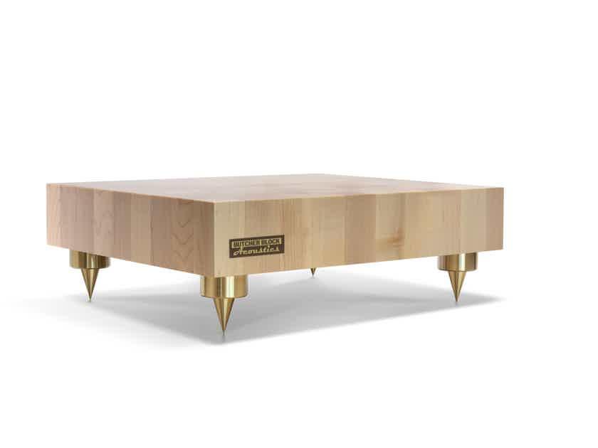 """Butcher Block Acoustics 18"""" X 15"""" X 3"""" Maple End-Grain Platform W/ Brass Footers"""